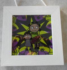 Cadre peinture sous-verre avec Tissu Wax signé Sini Stuff To Do, Frame, Glass, Painting, Decoration, Design, Art, Characters, Picture Frame