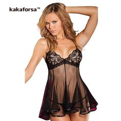 Kakaforsa Women Sexy Lingerie High Quality. Hot Erotic See Through Nightgown Polyester Mesh Solid Designer Underwear Nightwear   Gender: Women   Item Type: Baby Dolls   Special Use: Exotic Apparel   Pattern Type: Solid   Decoration: Lace   Brand Name: kakaforsa   Model Number: 0061   Fabric Type: Lace   Material: Polyester   Weight: 0.07kg   Size: Free Size   Color: black, red