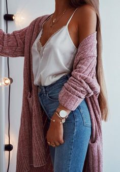 how to style a pink cardi : white v neck top high weist jeans