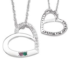 Buy Platinum Plated Mother's Birthstone & Genuine Diamond Heart Necklace at Limoges