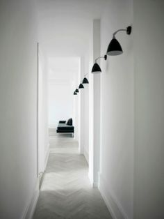 Hallway. White. Long. Lighting. Design. Decor. Minimalist.
