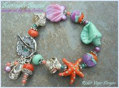 Judy Carlson lampwork beads and sterling silver--great color combo