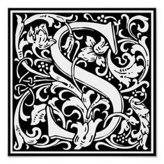 Letter S Medieval Monogram Vintage Initial Poster