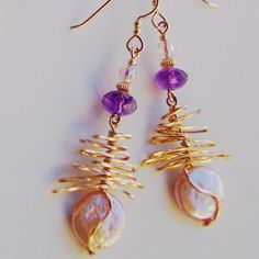 Blushing Peach Pearl Bramble Earrings with Radiant by Beadmatrix