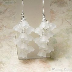 Lily of the Valley White Floral Cluster Crystal Earrings