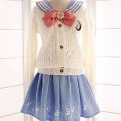 Japanese Sailor Moon Woolen Long-Sleeved Cardigan Sweater SD00254