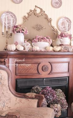 Savvy Southern Style: French Country Cottage bedroom - The mantel is one area that gets touched almost every season. This year, dressed for Autumn with vintage whites and dried roses. Country Look, Country Chic Cottage, Romantic Cottage, French Cottage, French Country House, Shabby Chic Cottage, Shabby Chic Decor, Cottage Style, Country Cottages