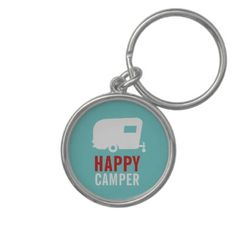 Happy Camper - Vintage RV Camping Keychain by LivingLarge