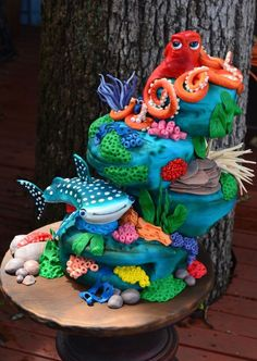 Finding Dory Cake Wrecks, Crazy Cakes, Finding Dory Birthday Cake, Finding Nemo Cake, Dory Cake, Decors Pate A Sucre, Foto Pastel, Ocean Cakes, Cake Central
