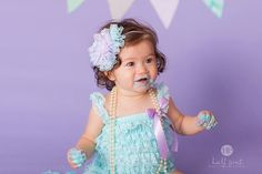 Mermaid Birthday Girl Outfit...Cake Smash Outfit Girl...Lace Romper Set...Baby Girl 1st Birthday Outfit...First Birthday Girl Outfit...