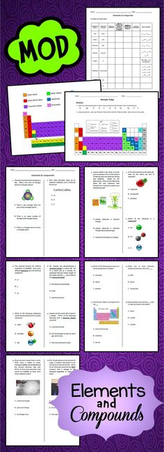 Middle School elements and compound unit worksheets, activities, PowerPoint, lab sheet, and more. Created for grades 5 - 7. Modified work also available. Visit Jodi's Jewels today!