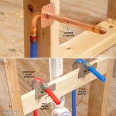 There are several methods. If the connection will be visible, like under a wall-hung sink, and you would prefer the look of a copper tube coming out of the wall, use a copper stub-out (left). You can connect a compression-type shutoff valve to the 1/2-in. copper stub-out and then connect your fixture. In areas that are concealed, like under a kitchen sink or vanity cabinet, you can eliminate a joint by running PEX directly to the shutoff valve. Use a drop-ear bend support to hold the tubing…