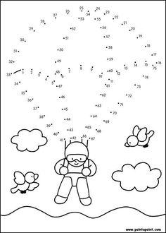 Fichas de actividades matemáticas para unir puntos y formar o completar dibujos. Esencial para trabajar los números y unir puntos del 1 al 100 con niños de el primer ciclo de primaria. Haz clic en cada imagen para acceder a la ficha. Math For Kids, Craft Activities For Kids, Math Activities, Kindergarten Math Worksheets, Preschool Worksheets, Abacus Math, Dot To Dot Printables, Abc Coloring Pages, English Worksheets For Kids