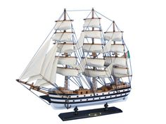 "Wooden Amerigo Vespucci 20"" Tall Model Ship"