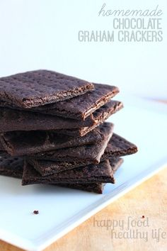 Homemade Chocolate Graham Crackers - An easy substitute for the boxed variety. And they taste better too! www.happyfoodhealthylife.com