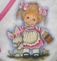 Blogue de fralditas :Fralditas, Fralda pintada nº8  Menina com coelhinho