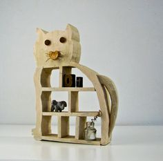 Folk Art Wood Cat Shelf  Outsider Art  Naive Art  by BeeJayKay, $35.00