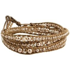 Chan Luu Graduated Swarovski Bronze Pearl Mix Wrap Bracelet On Kansa Leather....um yes please....