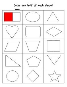 math worksheet : coloring shapes the fraction 1 2  fractions printable math  : Fractions Of Shapes Worksheet