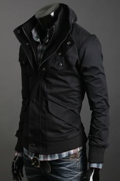 Stylish New Design Leisure Noble Coat Black