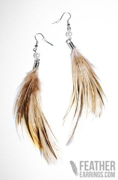 Cute Animul Earth Tone Rooster Feather Earrings $9.99