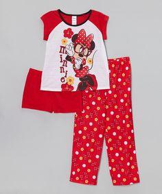 Another great find on #zulily! Red 'Minnie' Flower Pajama Set - Girls by Minnie Mouse #zulilyfinds
