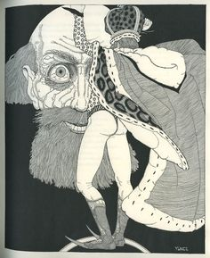 In 1930, Curwen Press published an edition of William Shakespeare's King Lear with illustrations by artist John Yunge-Bateman. Yunge-Bateman's black-and-white interpretation of the play is quite striking — and oddly heavy on the thong underwear.