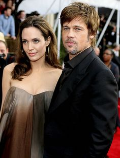 Angelina Jolie & Brad Pitt at 2008 Screen Actors Guild (SAG) Awards, from Angelina Jolie -Daily- Brad And Angelina, Angelina Jolie, Sag Awards, Celebs, Celebrities, Brad Pitt, Girl Crushes, Role Models, My Girl
