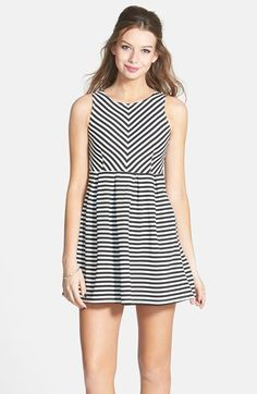Smai NYC Stripe Pleat Skater Dress (Juniors) available at #Nordstrom