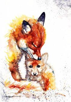 Fox Original Watercolour Painting Print Card Framed by Horse Drawings, Animal Drawings, Cute Drawings, Watercolor Animals, Watercolor Print, Watercolour Painting, Fox Painting, Painting Prints, Art Fox