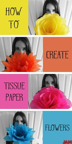 Tissue Paper isn't just for gifts. JAM Tissue Paper creates flowers, bright and colorful ones. Learn how by clicking! How to make tissue paper flowers with JAM Paper! Brighten up weddings, anniversaries, birthday parties and more. Giant Paper Flowers, Diy Flowers, Fabric Flowers, Making Tissue Paper Flowers, Colorful Flowers, Mexican Paper Flowers, Hanging Paper Flowers, Paper Poms, Flowers Vase