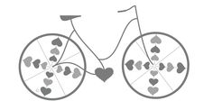 Hearts to symbolize LOVE. Clear, simple bike. (Could do something similar with a school?)