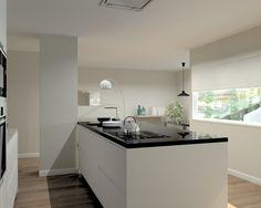 cocina santos modelo intra laminado seda blanco encimeras granito negro y silestone blanco