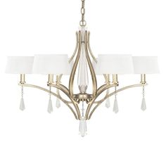 Elegant and attractive, this lovely light will turn more than a few heads as it complements your decor without redefining it. The fabric shades offer a unique take on the classic design of the chandelier.