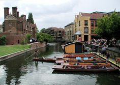Punting on Cam River, Cambridge England
