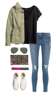 """leopard clutch"" by kcunningham1 ❤ liked on Polyvore featuring Frame Denim, H&M, Clare V., Ray-Ban, Converse and NARS Cosmetics"
