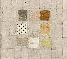 today i am taking a break and trying a new variation on the 9 patch. this study will be the format for a series of collection quilts. base is woven strips of natural linen. applique will be scraps of. Fabric Art, Linen Fabric, Fabric Crafts, Art Textile, Textile Artists, Creative Textiles, 9 Patch Quilt, Contemporary Embroidery, Fabric Journals