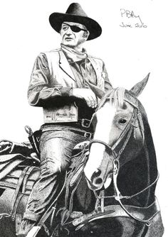 Pen & Ink Drawing, A4 - Rooster Cogburn by PetesPiccies on Etsy