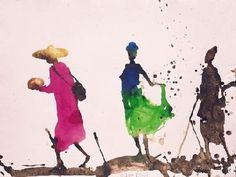 Marché de Sangha, la Jupe Verte by Miquel Barcelo. Medium: watercolour and sand on paper; Watercolor Sketch, Watercolor Portraits, Watercolour Painting, Painting & Drawing, Watercolors, Painting People, Drawing People, Figure Painting, Figure Drawing