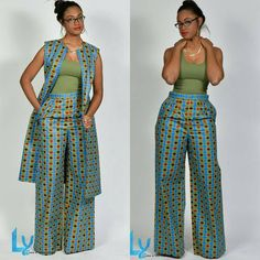 Premium Pants, African Print Wide Leg Pants – African Fashion Dresses - African Styles for Ladies African Fashion Designers, African Inspired Fashion, African Print Fashion, Africa Fashion, Ethnic Fashion, Look Fashion, Fashion Models, Fashion Outfits, Fashion Styles