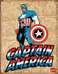 Amazon.com: Captain America Comic Distressed Retro Vintage Tin Sign: Home & Kitchen