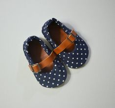 Navy Polka Dots and leather Baby Shoes