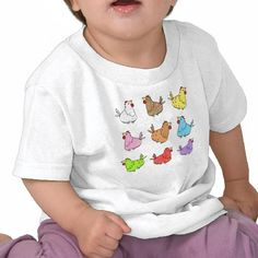 Colorful Cartoon Chickens Baby T-shirt, design by dutch illustrator Ans Collijn©