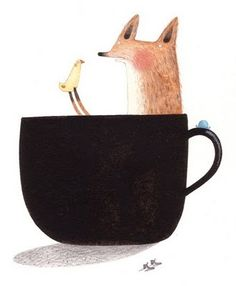 The only thing better than a fox and chick in a coffee cup, is coffee.