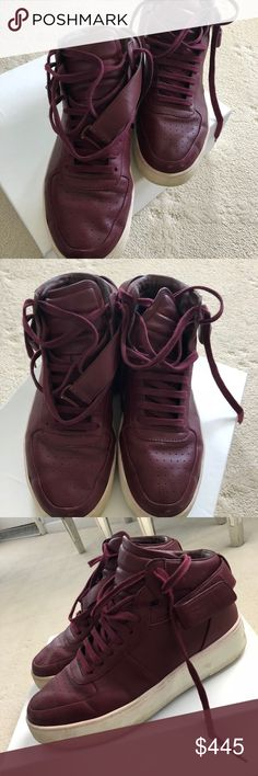 Celine high top burgundy leather sneakers Celine high top burgundy sneakers Celine Shoes Sneakers