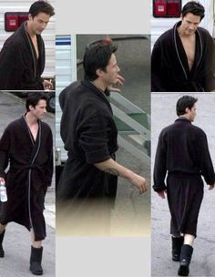 """""""Keanu on the set of Constantine with his cigarette, water, robe and ugg boots"""" I love it. I absolutely love it"""