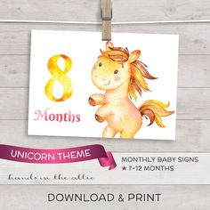 Unicorn photo signs for baby diy baby photo props - MONTHLY baby 7 to 12 months - printable baby milestone picture props DIGITAL download by HandsInTheAttic