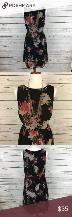 """Loft Floral Dress Fully lined yet light weight. Beautiful floral pattern. Bust 38"""", waist to hem 21"""". Machine wash, tumble dry. LOFT Dresses"""