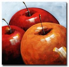 Wall Art finished in USAHistory: This oil painting looks good enough to eat! A close-up of three harvested apples sitting in a group make a statement with their