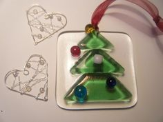 Fused Glass Christmas Decorations | Iridescent Glass Design MISI Handmade Shop
